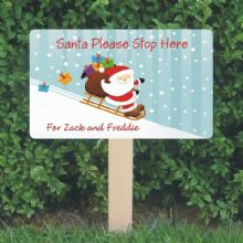 Personalised Santa Stop Here Sign - Santa and Sledge Design - Festive Christmas Sign Decoration